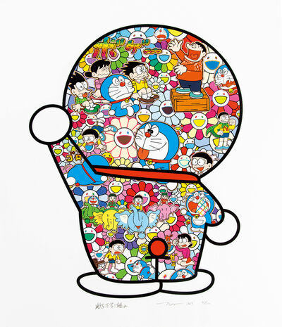 Takashi Murakami, 'Doraemon's Daily Life, Doraemon in the Field of Flowers, Mr. Fujiko F. Fujio and Doraemon Are in the Field of Flowers (3 works)', 2019