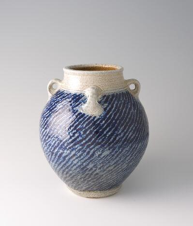 Tatsuzo Shimaoka, 'Jar with lugs, rope and slip inlay with cobalt blue salt glaze'