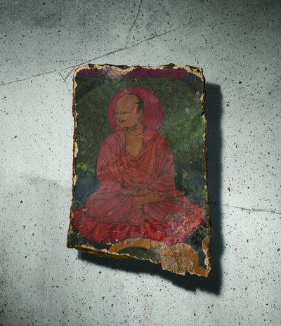 Unknown Tibetan, 'A Polychrome Fresco Fragment of Rectangular Form Painted with a Lama Seated in Dhyanasana 西藏13|14世紀 灰泥彩繪大成就者圖壁畫殘部', Tibet: 13|14th century
