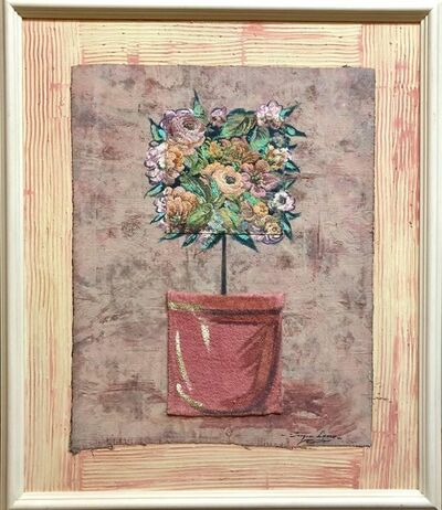 Jacques Lamy, 'Mixed Media Floral Oil Painting Collage Bouquet of Flowers', 20th Century