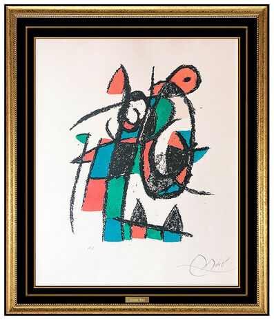 Joan Miró, 'Joan Miro Original Color Lithograph Plate Hand Signed Abstract Modern Framed Art', 1975