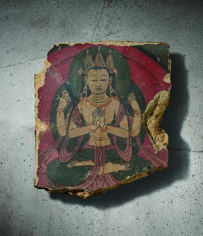Unknown Tibetan, 'A Polychrome Fresco Fragment of Rectangular Form Painted with Shadhasuri Lokeshvara Seated in Dhyanasana 西藏13|14世紀 灰泥彩繪四臂觀音圖壁畫殘部', Tibet: 13|14th century