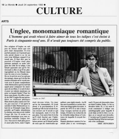 Unglee, 'Unglee, monomaniaque romantique -Dix ans de disparitions', 1993-1995