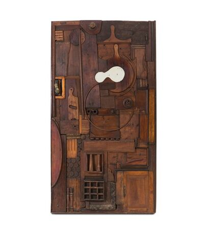 Pucci de Rossi, 'a wooden sculpture-door with a mirrored glass inlay', 1973
