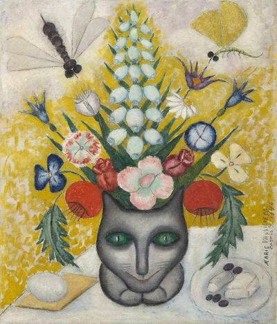 Marie Vassilieff, 'Bouquet de fleurs au chat', 1946