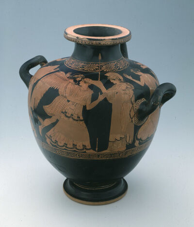 Niobid Painter, 'Attic Red-Figure Hydria with the Abduction of Oreithyia by Boreas', ca. 460