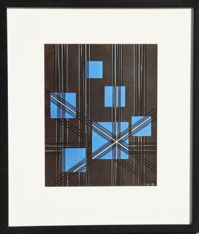 Herbert Bayer, 'Linear Gray with Six Blue Squares', 1965