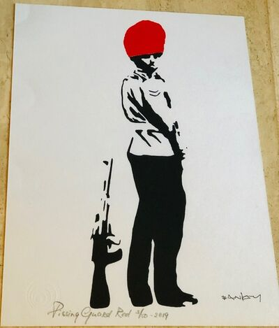 Banksy, 'Pissing Guard- Red (After Original)', Unknown