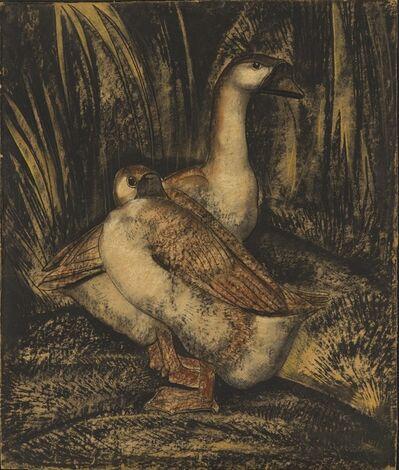 Willem van den Berg, 'Geese in a Landscape (recto) A lizard on a Tree (verso)', ca. 1920
