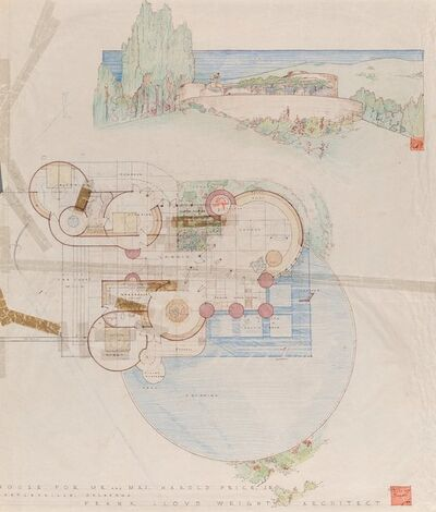 Frank Lloyd Wright, 'Drawing for the Harold Price, Jr. House, Bartlesville, Oklahoma', circa 1953