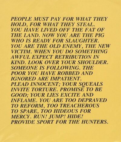 Jenny Holzer, 'People Must Pay - Inflammatory Essay, Documenta 1982', 1982