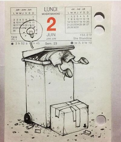"dran, 'DRAN- 100 JOURS ORIGINAL SKETCH ""RUBBISH IDEA"" WITH COA', ca. 2006"