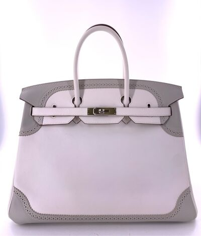 Hermès, 'A Limited Edition White & Gris Perle Swift Leather Ghillies Birkin 35 ', 2012