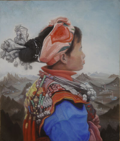 Guo Jian 郭剑, 'A girl of Miao with landscape background No.1', 2019