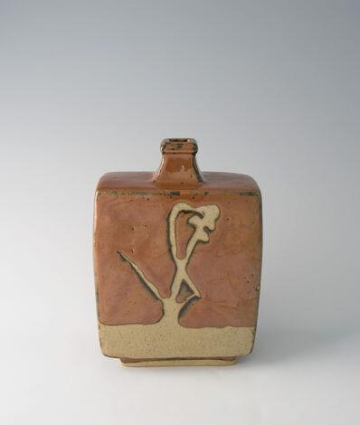 Shōji Hamada, 'Squared bottle, kaki glaze with wax resist brushwork', 1965