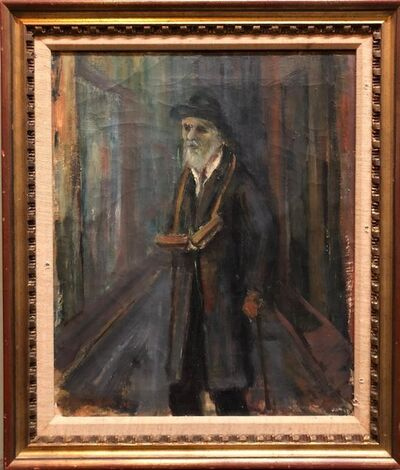 Ozer Shabat, 'Judaica Oil Painting 1945 Palestine Old Jewish Man Polish Israeli Artist', 1940-1949