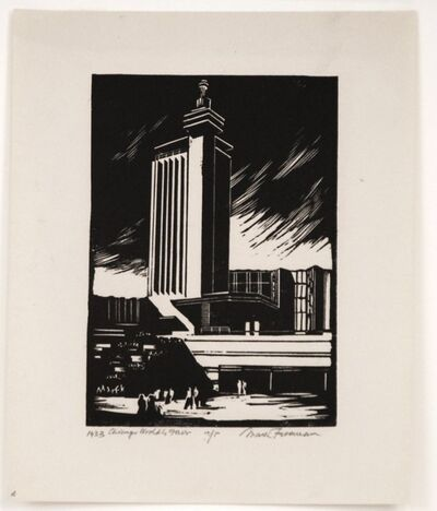 Mark Freeman, 'Chicago Worlds Fair (#6): North Entrance Hall of Science', 1933