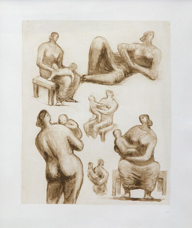 Henry Moore, 'Mother and Child Studies and Recling Figure', 1977