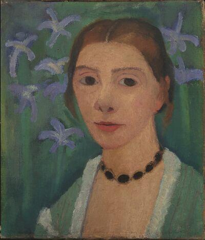 Paula Modersohn-Becker, 'Autoportrait sur Fond Vert avec des Iris Bleus ', 1905