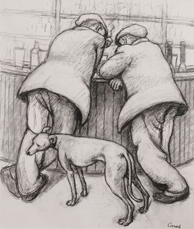 Norman Cornish, 'Two men at bar with dog', ca. 1965