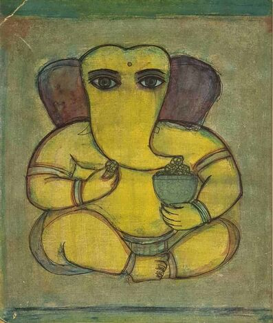 "Badri Narayan, 'Ganesha, Water Colour on Paper by Padmashree Modern Artist ""In Stock""', 1957"