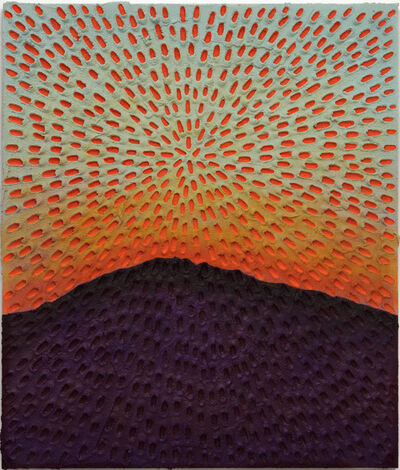 Jennifer Guidi, 'Worlds In Motion (Painted Light Blue Sand SF #1C, Blue-Orange Sky, Purple-Brown Mountain)', 2017