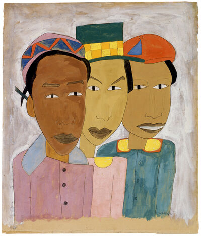 William Henry Johnson, 'Playmates (aka Children, aka Three Friends, aka Three Girls)', ca. 1941