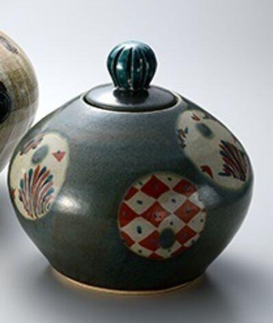 Tomoo Hamada, 'Lidded vase, green glaze with hakeme decoration', ca. 2015