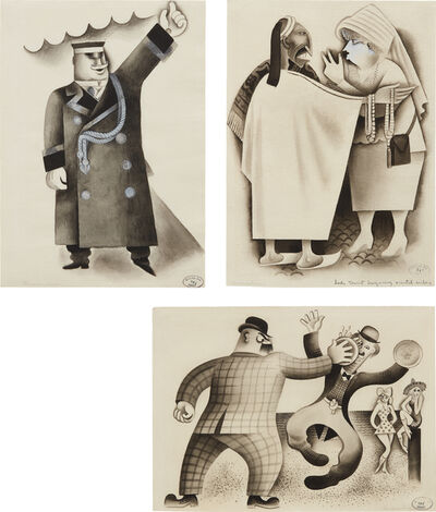 Miguel Covarrubias, 'Three works: i) Park Avenue Doorman – Taxi ii) Lady Tourist Bargaining Oriental Amber iii) Confrontation - Pie in the Face'