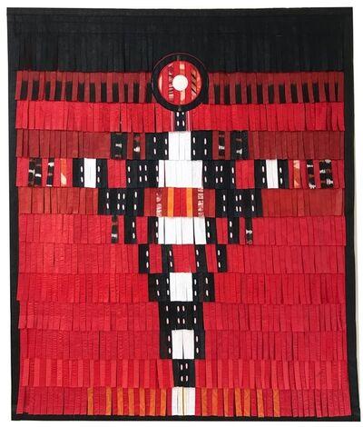 Abdoulaye Konaté, 'Personnage en noir - blanc (fond rouge)', 2017