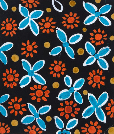 Sonia Delaunay, 'Design 1263 - Red and Blue Flowers on Black', ca. 20's-30's
