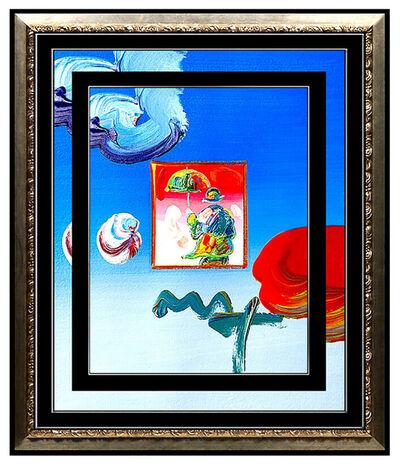 Peter Max, 'PETER MAX Original Signed PAINTING UMBRELLA MAN Pop ART Acrylic Oil Iconic', 21st Century