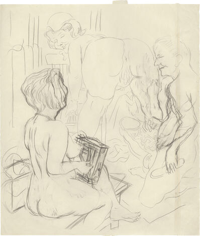 "George Grosz, '""Ménage-à-trois (Eva, Lotte and George) (Self Portrait)""', 1927-1928"