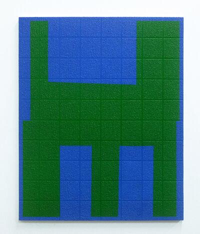 Michael Wall, 'Grid I Green on Blue', 2019