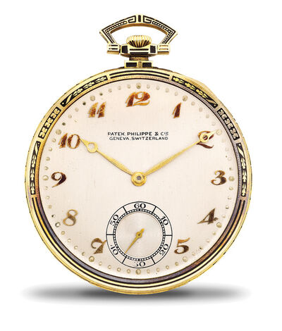 Patek Philippe, 'A fine and attractive yellow gold and black enamel openface pocket watch with Breguet numerals, presentation box and certificate of origin.', 1924