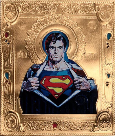 "Valentin Popov, '""St. Superman on Paper""', 2019"