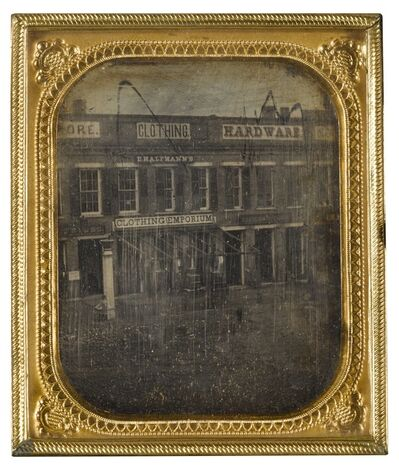 Anonymous American Photographer, 'Street Scene with Clothing Emporium, Possibly near Syracuse, New York', 1850s