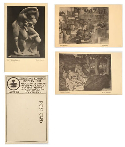 1913 Armory Show, '3-EXHIBITION CARD SET, 1913 Armory Show (International Exhibition of Modern Art), Archipenko, Braque, de Segonzac', 1913