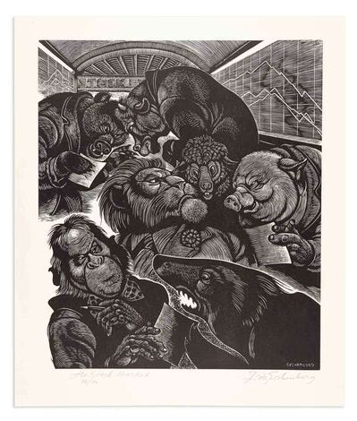 Fritz Eichenberg, 'THE STOCK MARKET', 1976