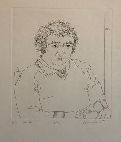 Knox Martin, 'Pulitzer Prize Winner Norman Mailer Portrait Etching Line Drawing', 1970-1979