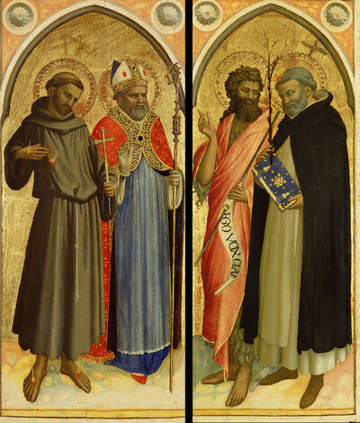 Fra Angelico, 'Saint Francis and a Bishop Saint, Saint John the Baptist and Saint Dominic', 1420