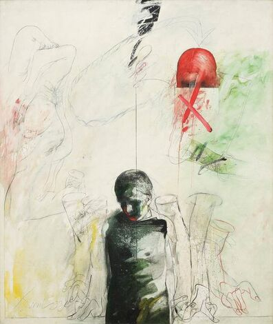 """Sunil Das, 'Confrontation Series, Oil on Canvas, Red, Green, Black, Yellow by Padmashree Artist """"In Stock""""', 1993"""