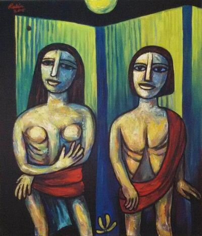 """Rabin Mondal, 'Couple, Oil & Acrylic on Canvas by Modern  Indian Artist """"In Stock""""', 2000-2018"""