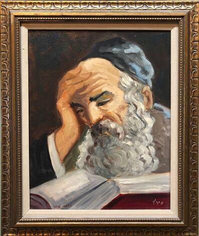 Nicky Imber, 'Portrait of a Rabbi Israeli judaica Oil Painting', Mid-20th Century