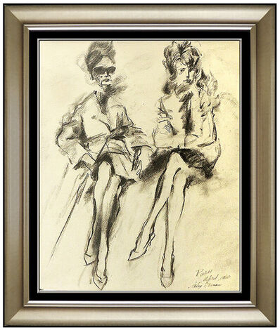 LeRoy Neiman, 'LeRoy Neiman Original Charcoal Drawing Hand Signed Paris Female Portrait Artwork', 1960