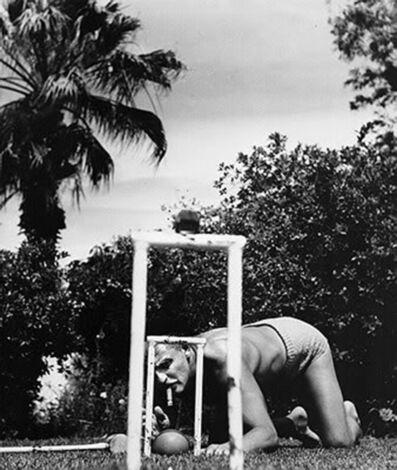 Slim Aarons, 'Tricky Shot (Darryl Zanuck at Howard Hawks' East-West croquet match in Beverly Hills)', 1955