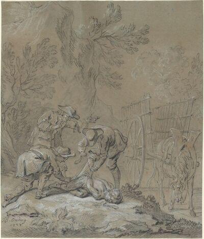 Jean-Baptiste Oudry, 'Ragotin lie par les parents du fou', 1727