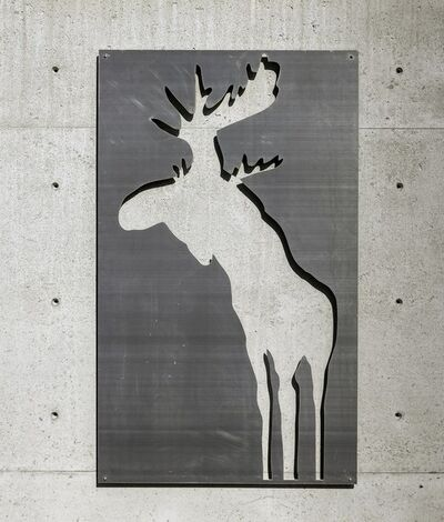 Charles Pachter, 'Moose Relief II - large, animal, silhouette, brushed aluminum wall sculpture', 2020