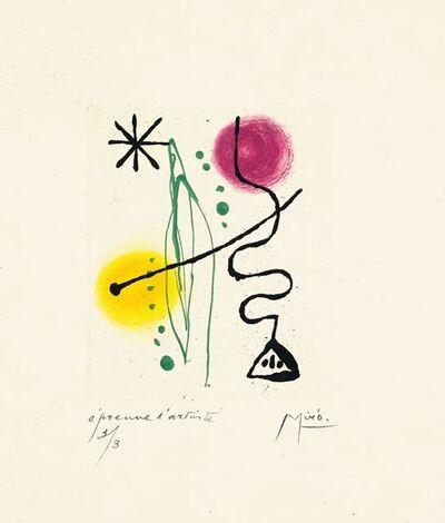 Joan Miró, 'Suite La Bague D'Aurore - plate 11', 1957