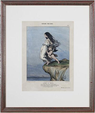 Honoré Daumier, 'Histoire Ancienne (Plate No. 49) LA MORT DE SAPHO 2nd State (rare) Delteil #973', 1843